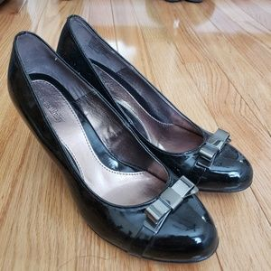 Black Heels with Silver Bow